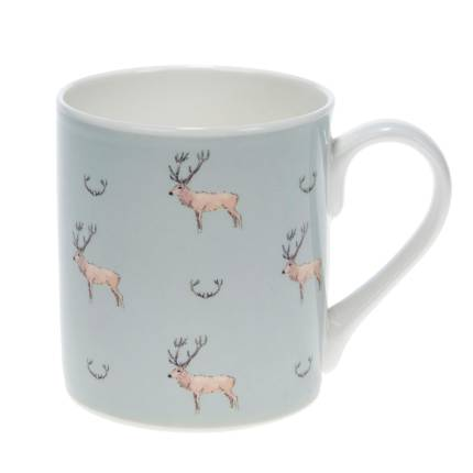 Mug - 'Stag & Antlers' (Coloured) - Large