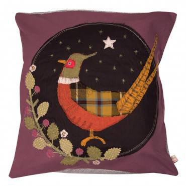 Pheasant - Embroidered Cushion